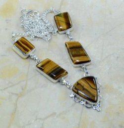 שרשרת כסף 925 בשיבוץ אבני טייגר אי זהב עיצוב מלבני