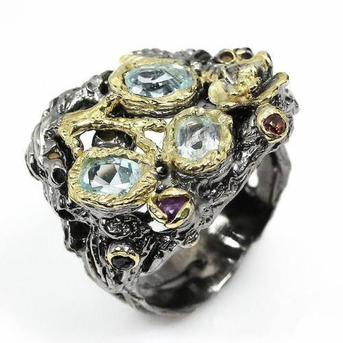 טבעת בשיבוץ טופז כחול גרנט ואמטיסט עבודת יד כסף רודיום שחור ציפוי זהב מידה : 7.5