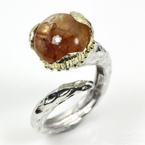 טבעת בשיבוץ אבן רוטילייד קוורץ עבודת יד כסף 925 וציפוי זהב