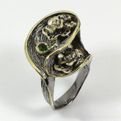טבעת בשיבוץ אבן דיופסיד - כסף 925 ציפוי זהב ורודיום שחור מידה: 5.5
