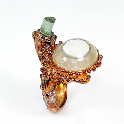 טבעת בשיבוץ אגט וטורמלין ירוק עבודת יד כסף ציפוי זהב מולטי טון מידה: 7.5