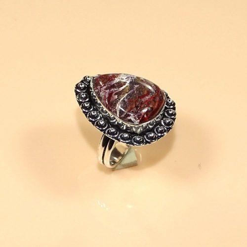 טבעת כסף 925 בשיבוץ קרייזי ליס אגט מידה: 9