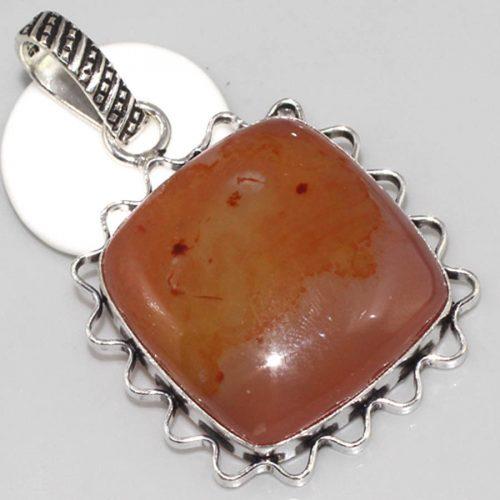 תליון כסף 925 בשיבוץ אבן לייס אוניקס חום כתמתם