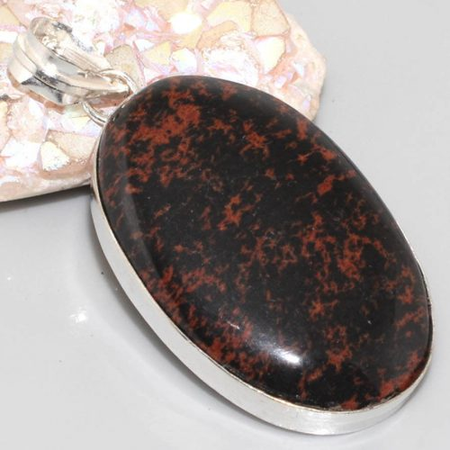 תליון כסף 925 בשיבוץ אבן אובסידיאן מהגוני עיצוב אובלי
