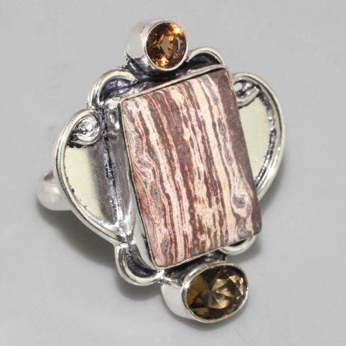 טבעת כסף 925 בשיבוץ אבני פטרופייד ווד וסיטרין מידה: 7