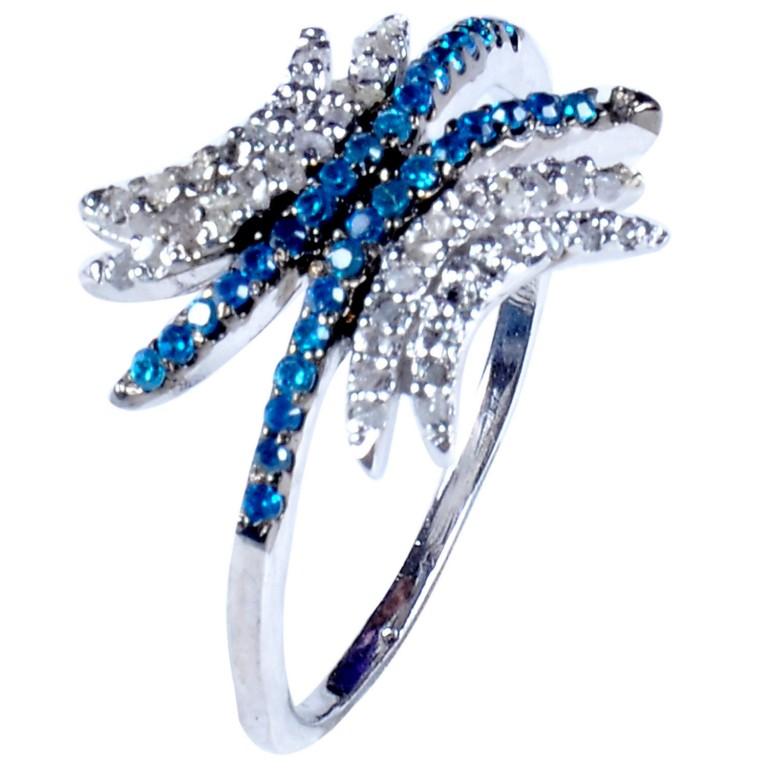 טבעת כסף 925 בשיבוץ יהלומי גלם 1.46 קרט וזירקונים כחול