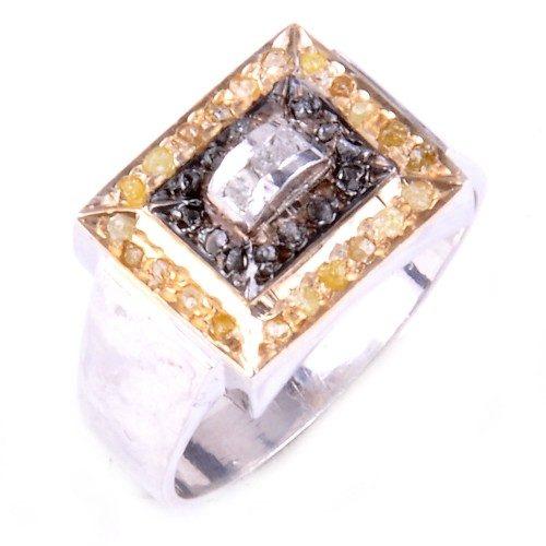 טבעת כסף 925 בשיבוץ יהלומי גלם זהובים ולבנים 0.80 קרט וזירקון
