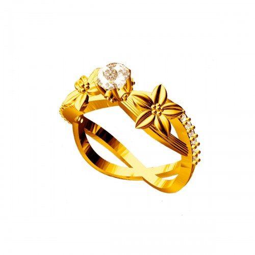 טבעת כסף 925 בציפוי זהב בשיבוץ יהלומי גלם 0.72 קרט וזירקון מרכזי