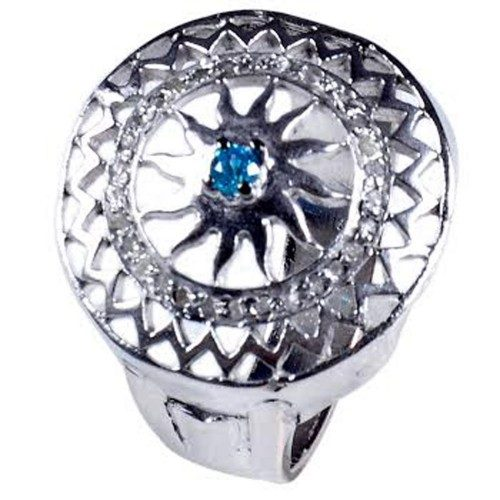 טבעת כסף 925 בשיבוץ יהלומי גלם 0.73 קרט וזירקון כחול