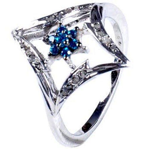 טבעת כסף 925 בשיבוץ יהלומי גלם 0.46 קרט וזירקון כחול