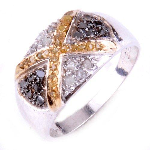 טבעת כסף 925 בשיבוץ יהלומי גלם לבן וזהוב 0.94 קרט