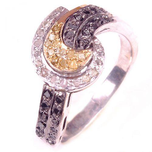 טבעת כסף 925 בשיבוץ יהלומי גלם 0.37 קרט וזירקונים כחול