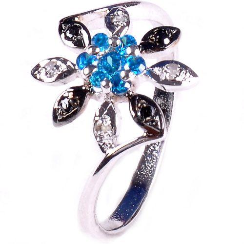 טבעת כסף 925 בשיבוץ יהלומי גלם 0.28 קרט וזירקונים כחול