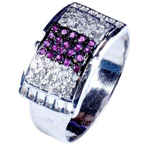 טבעת כסף 925 בשיבוץ יהלומי גלם 0.99 קרט וזירקונים גוון סגול
