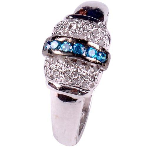 טבעת כסף 925 בשיבוץ יהלומי גלם 0.94 קרט וזירקונים כחול