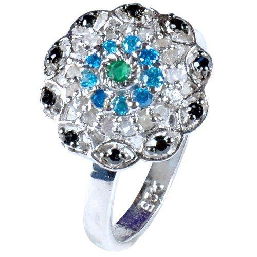 טבעת כסף 925 בשיבוץ יהלומי גלם 0.73 קרט וזירקונים