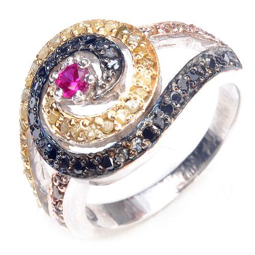 טבעת כסף 925 בשיבוץ יהלומי גלם 1.46 קרט וזירקון אדום ושחור