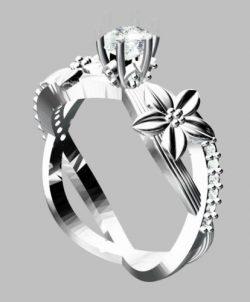 טבעת כסף 925 בשיבוץ יהלום גלם 0.69 קרט
