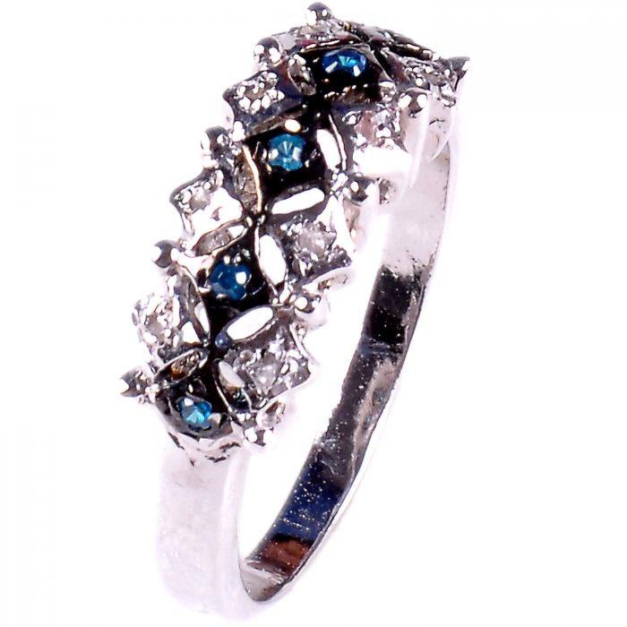 טבעת כסף 925 בשיבוץ יהלומי גלם 0.25 קרט וזירקונים כחול הטבעת: מידה: 7.5
