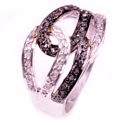 טבעת כסף 925 בשיבוץ יהלומי גלם עיצוב לולאות הטבעת: 1.00 קרט מידה: 7.5