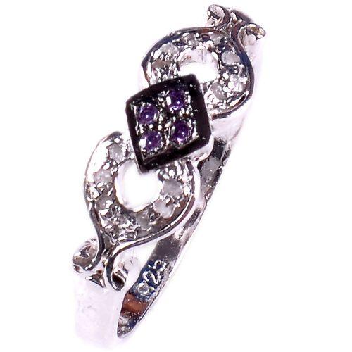 טבעת כסף 925 בשיבוץ יהלומי גלם 0.36 קרט וזירקונים סגול הטבעת: מידה: 8