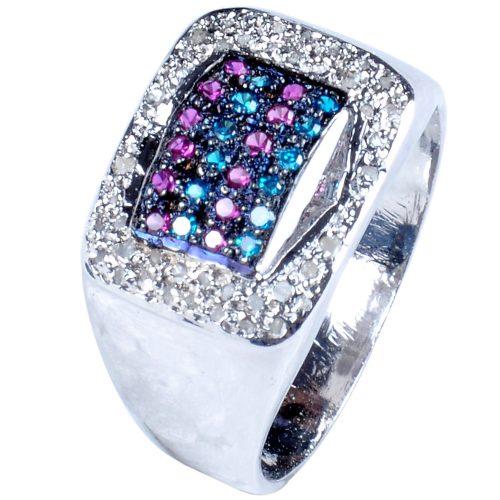 טבעת כסף 925 בשיבוץ יהלומי גלם 1.30 קרט וזירקונים כחול סגול הטבעת: מידה 9