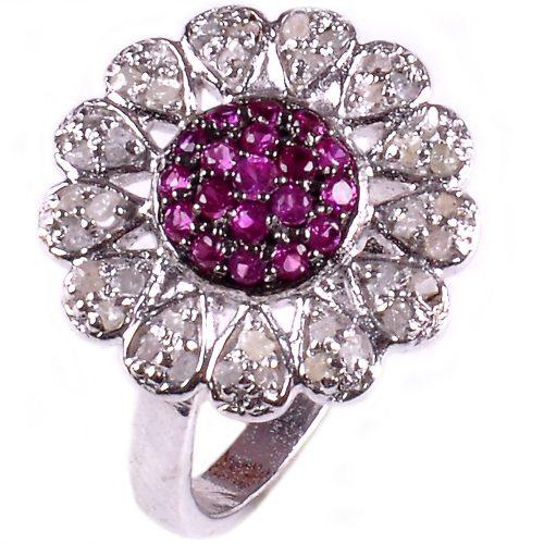 טבעת כסף 925 בשיבוץ יהלומי גלם 1.16 קרט וזירקונים סגול הטבעת: מידה 7