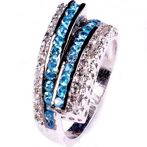 טבעת כסף 925 בשיבוץ יהלומי גלם וזירקונים כחול מידה: 7.5
