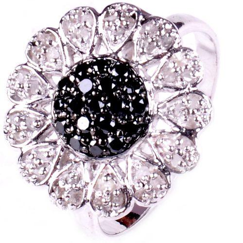 טבעת כסף בשיבוץ יהלומי גלם לבן ושחור 1.15 קרט הטבעת מידה: 7