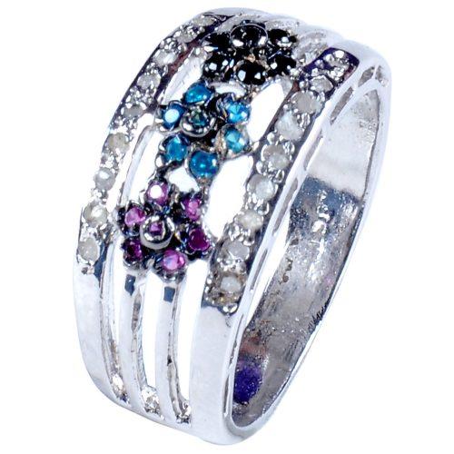 טבעת כסף בשיבוץ יהלומי גלם 0.77 קרט וזירקונים סגול שחור וכחול מידה: 7