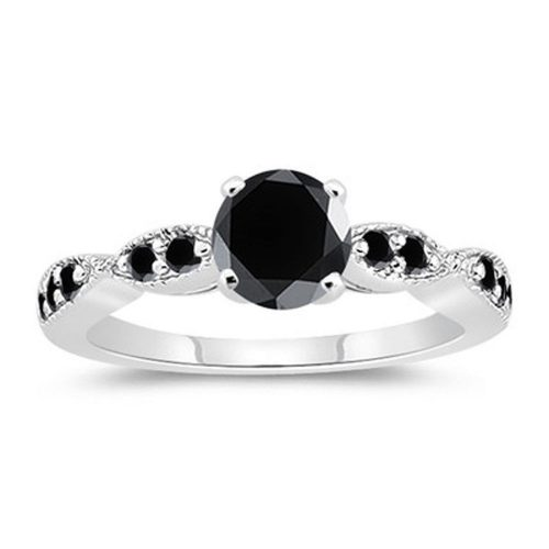 טבעת כסף 925 בשיבוץ מואסנייט שחור 1.27 קרט הטבעת: מידה 7