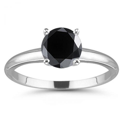 טבעת כסף 925 בשיבוץ מואסניט שחור 2.69 קרט מידה: 7