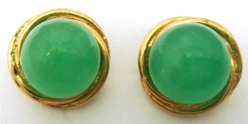 עגילי יוקרה כסף 925 בציפוי זהב 14 קרט בשיבוץ ג'ייד ירוק משובח משקל: 2.3 גרם
