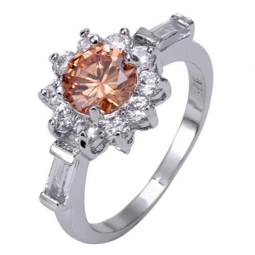 טבעת כסף 925 בשיבוץ טופז כתום ולבן מידה: 9 הטבעת: 3.8 גרם
