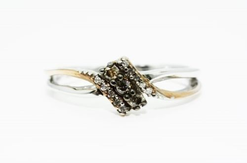 טבעת כסף וזהב אדום 10 קרט בשיבוץ 3 יהלומים גוון זהוב 12 יהלומים לבנים מידה 6