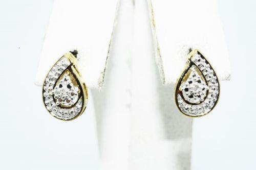 עגילי כסף 925 בציפוי זהב בשיבוץ יהלומים לבנים 02. קרט ניקיון s13 עיצוב טיפה