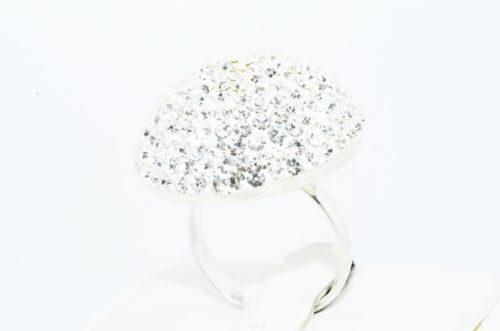 טבעת יוקרה כסף 925 בשיבוץ אבני קריסטל מלוטש 8 קרט מידה: 6.5