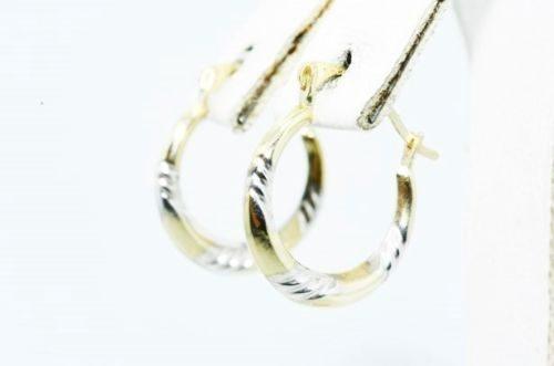 """עגילי זהב צהוב ולבן עיצוב חישוק 10 קרט קוטר 1.5 ס""""מ"""