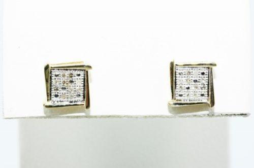 עגילים זהב צהוב 10 קרט בשיבוץ יהלומים לבנים 10. קרט ניקיון: sl3 עיצוב מרובע