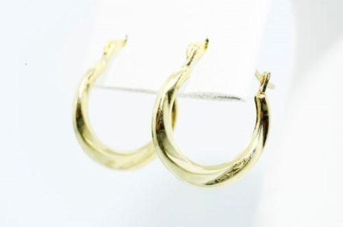 עגילי זהב צהוב 14 קרט בעיצוב חישוק