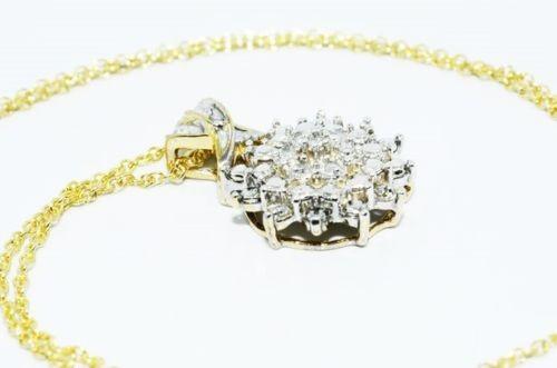 תליון ושרשרת כסף 925 בציפוי זהב בשיבוץ יהלומים לבנים 13. קרט ניקיון יהלומים: I1