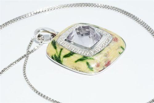 תליון ושרשרת כסף 925 בשיבוץ קוורץ קריסטל ויהלומים ניקיון יהלומים: SI2 קישוט אמייל
