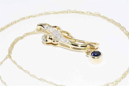 תליון ושרשרת זהב צהוב 10 קרט בשיבוץ ספיר + 6 יהלומים לבנים ניקיון יהלומים: SI2