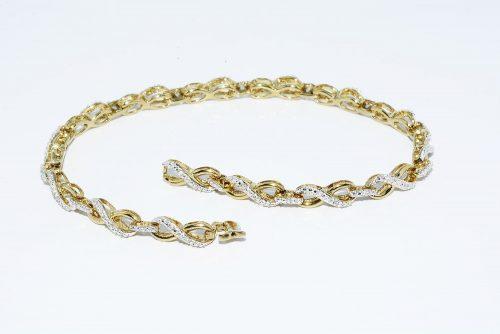 צמיד כסף 925 בציפוי זהב בשיבוץ 45 יהלומים 20. קרט ניקיון יהלומים: SI2 משקל: 8.11 גרם