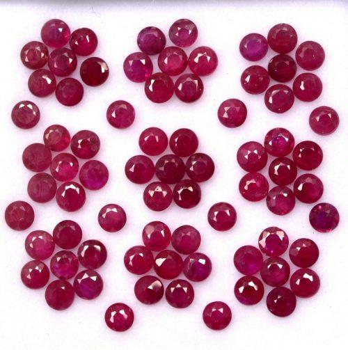 """רובי Ruby אודם בורמה עגול מלוטש לשיבוץ 9 יחידות במידה: 2.5 מ""""מ"""