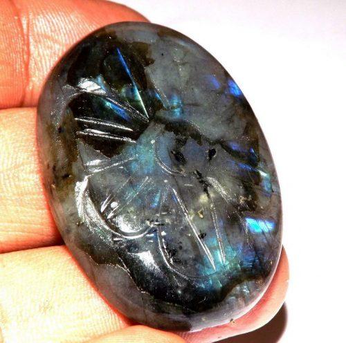 לברדורייט Labradorite מלוטש לשיבוץ חריטות עבודת יד - אפריקה משקל: 98.50 קרט