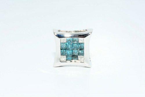 עגיל יחיד זהב לבן 14 קרט גבר \ אישה בשיבוץ 12 יהלומים כחולים + 4 יהלומים לבנים 66. קרט
