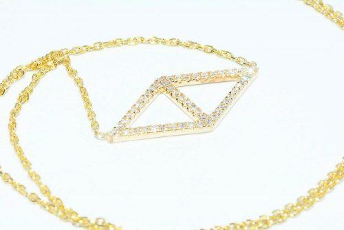 תליון שרשרת זהב צהוב 14 קרט בשיבוץ 48 יהלומים לבנים 17. קרט ניקיון יהלומים: VS1