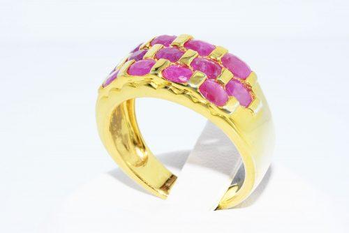 טבעת יוקרה כסף 925 ציפוי זהב בשיבוץ 13 רובי 2.01 קרט מידה: 8.25