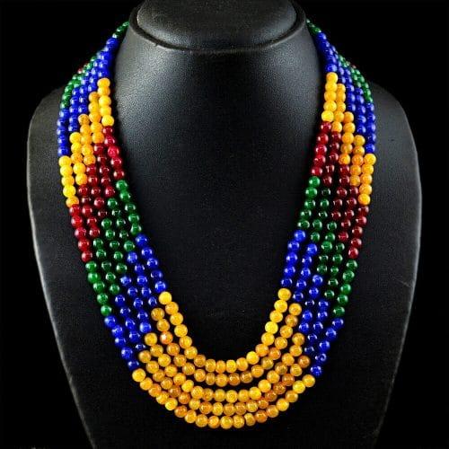 שרשרת 5 שורות אמרלד רובי ספיר Sapphire Ruby Emerald משקל: 405 קרט סוגר: רקמה קצר \ ארוך